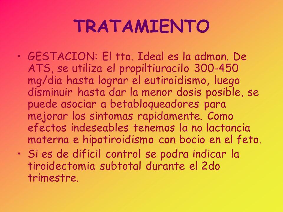 TRATAMIENTO EN ANCIANOS: El de eleccion es el I 131 a dosis entre 60-90 Gy, precedido del uso de ATS hasta lograr eutiroidismo.