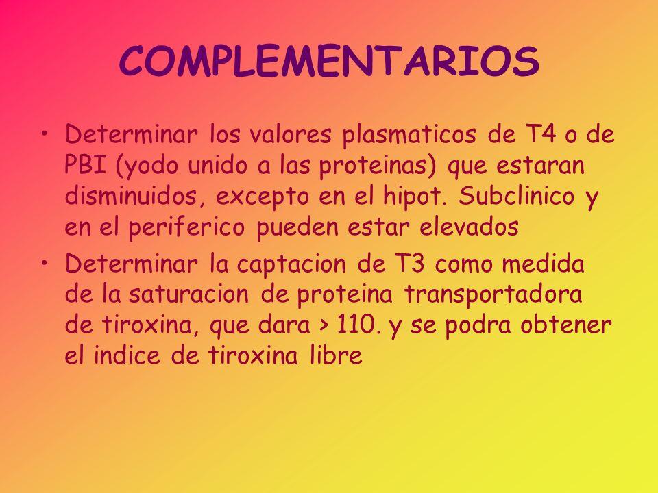 COMPLEMENTARIOS Realizar la localizacion anatomica de la lesion: se miden los niveles de TSH plasmatica, los valores aumentados, confirman la lesion tiroidea o primaria, mientras que los disminuidos sugieren que la lesion podria estar en la hipofisis o en el hipotalamo, para determinar la diferencia se evaluara la respuesta de TSH a TRH (200 mcg, en bolo IV) y se determinan los niveles de tirotropina a los 0, 20, 30 y 60 mts.