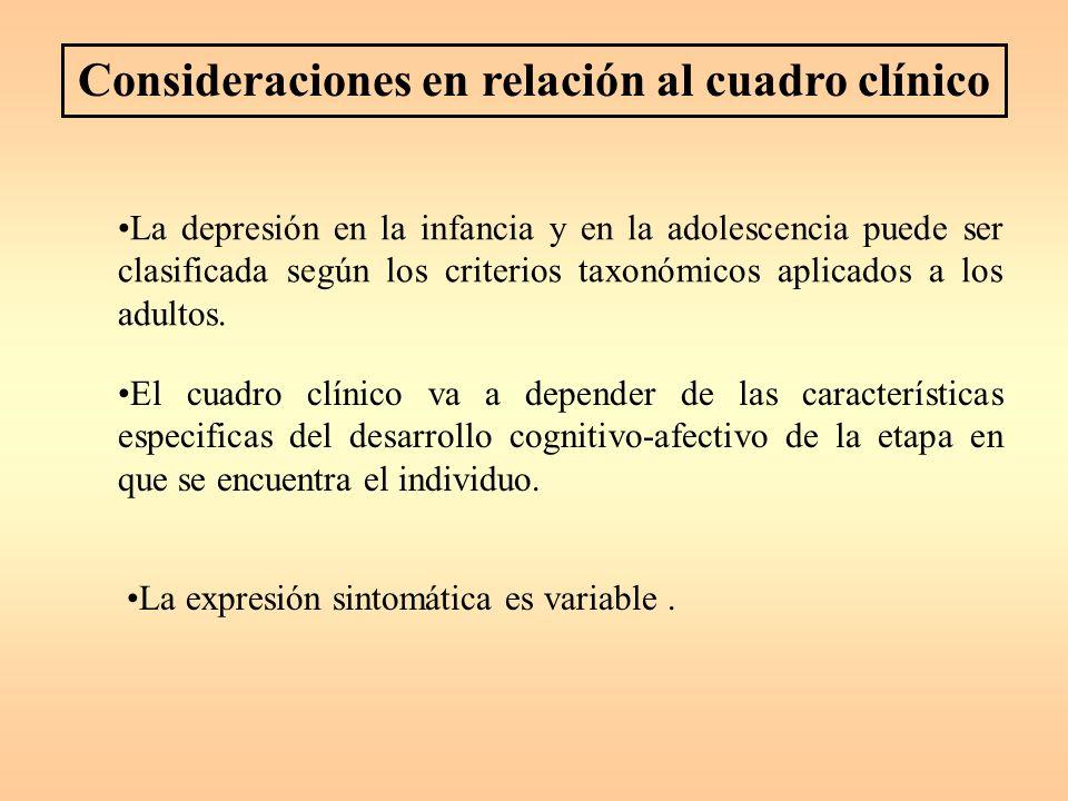 Consideraciones en relación al cuadro clínico La depresión en la infancia y en la adolescencia puede ser clasificada según los criterios taxonómicos aplicados a los adultos.