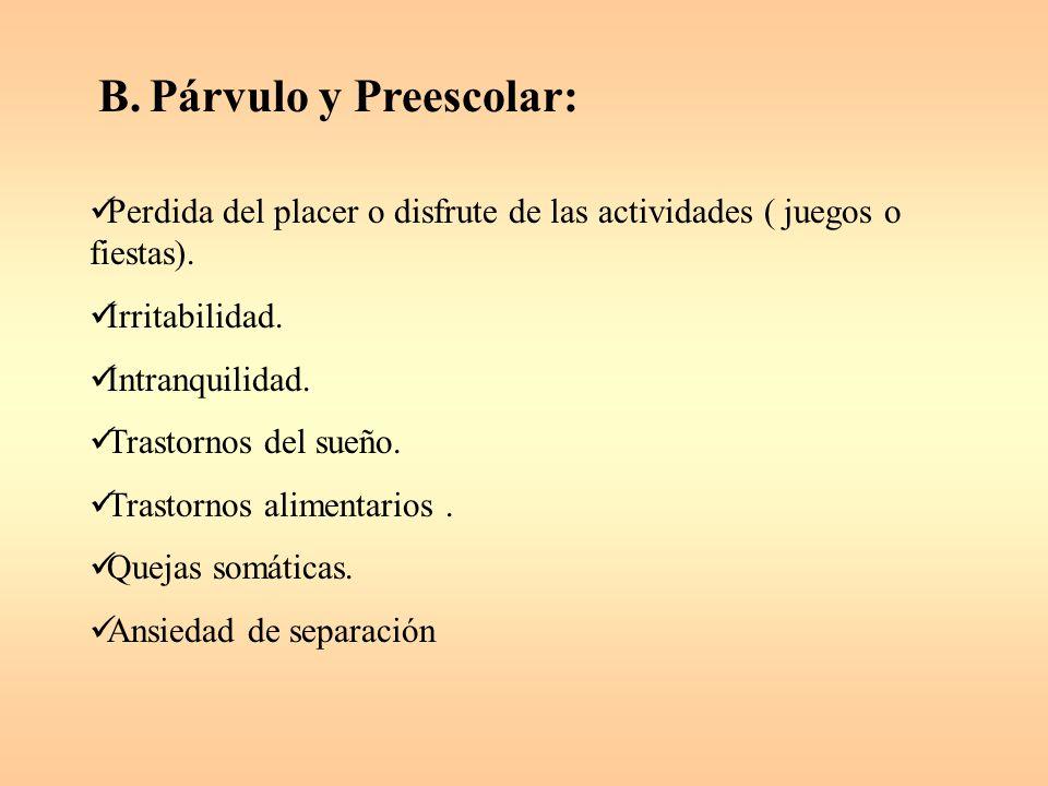 B.Párvulo y Preescolar: Perdida del placer o disfrute de las actividades ( juegos o fiestas).