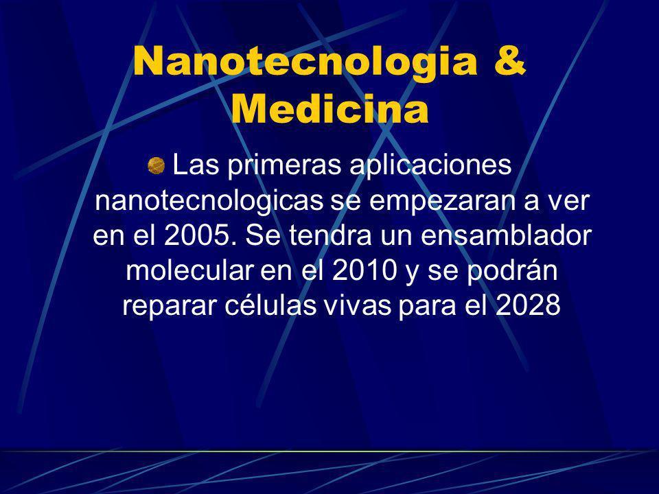 Potenciales aplicaciones médicas Máquinas moleculares y computadoras de tamaño subcelularr Servir como un sistema auto inmune potenciado.