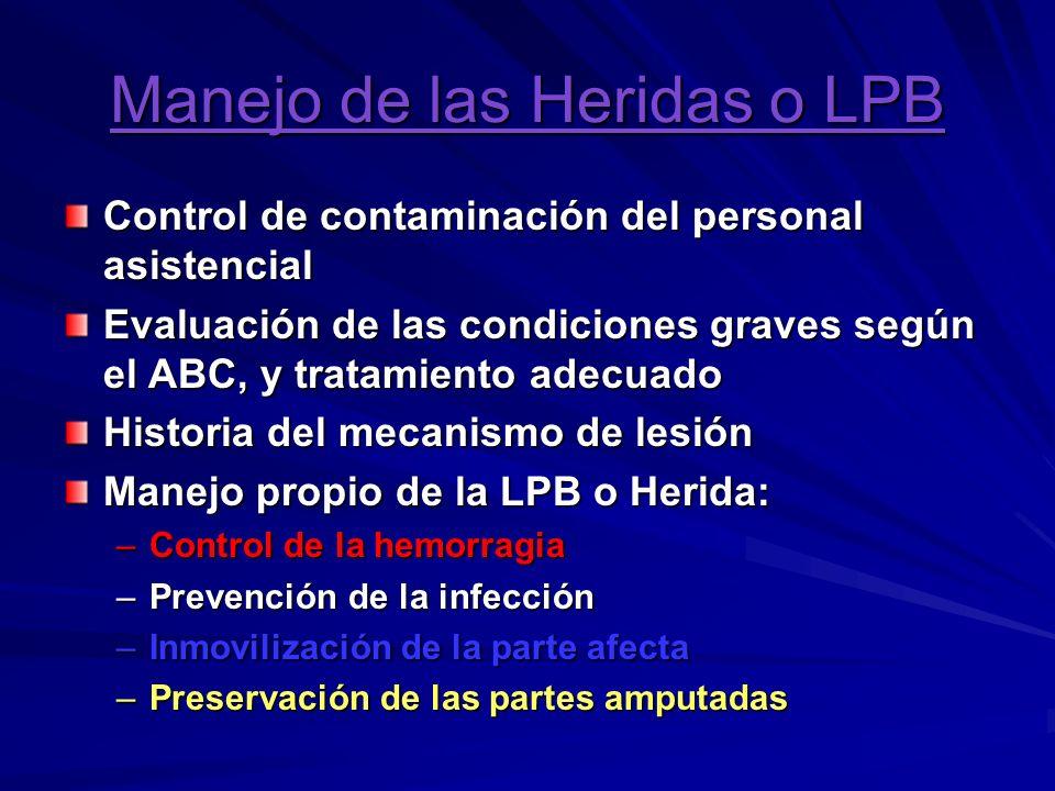 Control de la Hemorragia: Presión Directa: estable, firme y continua; por 10 a 30, con posterior vendaje compresivo.