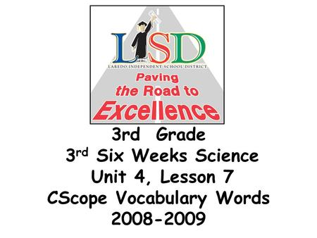 3rd Grade 3 rd Six Weeks Science Unit 4, Lesson 7 CScope Vocabulary Words 2008-2009.
