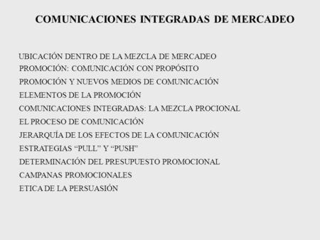 COMUNICACIONES INTEGRADAS DE MERCADEO