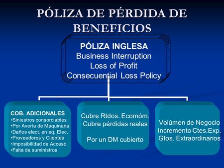 PÓLIZA DE PÉRDIDA DE BENEFICIOS PÓLIZA INGLESA Business Interruption Loss of Profit Consecuential Loss Policy COB. ADICIONALES Siniestros consorciables.