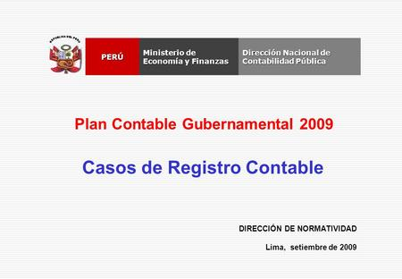 Plan Contable Gubernamental 2009 Casos de Registro Contable