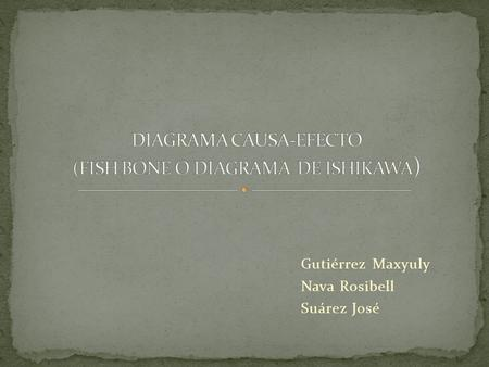 DIAGRAMA CAUSA-EFECTO (FISH BONE O DIAGRAMA DE ISHIKAWA)