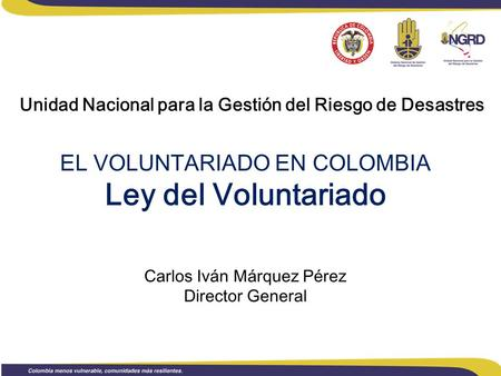 EL VOLUNTARIADO EN COLOMBIA Ley del Voluntariado