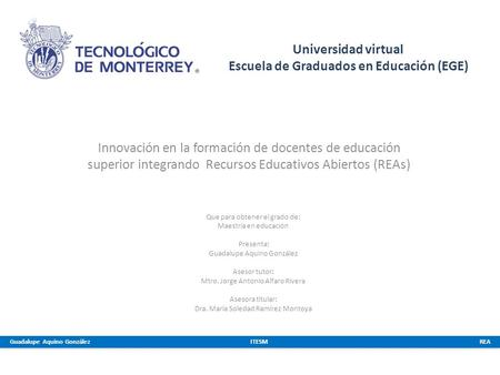 Universidad virtual Escuela de Graduados en Educación (EGE)