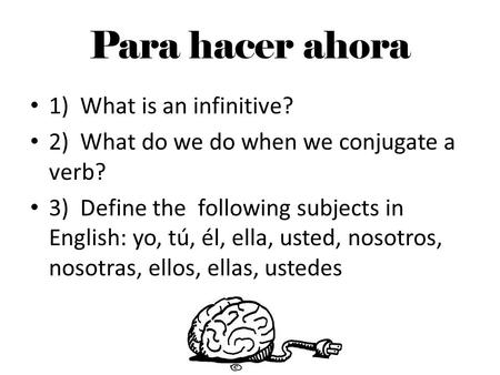 Para hacer ahora 1) What is an infinitive? 2) What do we do when we conjugate a verb? 3) Define the following subjects in English: yo, tú, él, ella, usted,