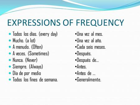 EXPRESSIONS OF FREQUENCY