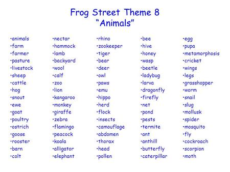 "Frog Street Theme 8 ""Animals"" animals farm farmer pasture livestock"