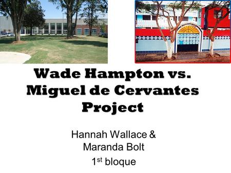 Wade Hampton vs. Miguel de Cervantes Project Hannah Wallace & Maranda Bolt 1 st bloque.