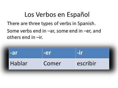 Los Verbos en Español There are three types of verbs in Spanish. Some verbs end in –ar, some end in –er, and others end in –ir.