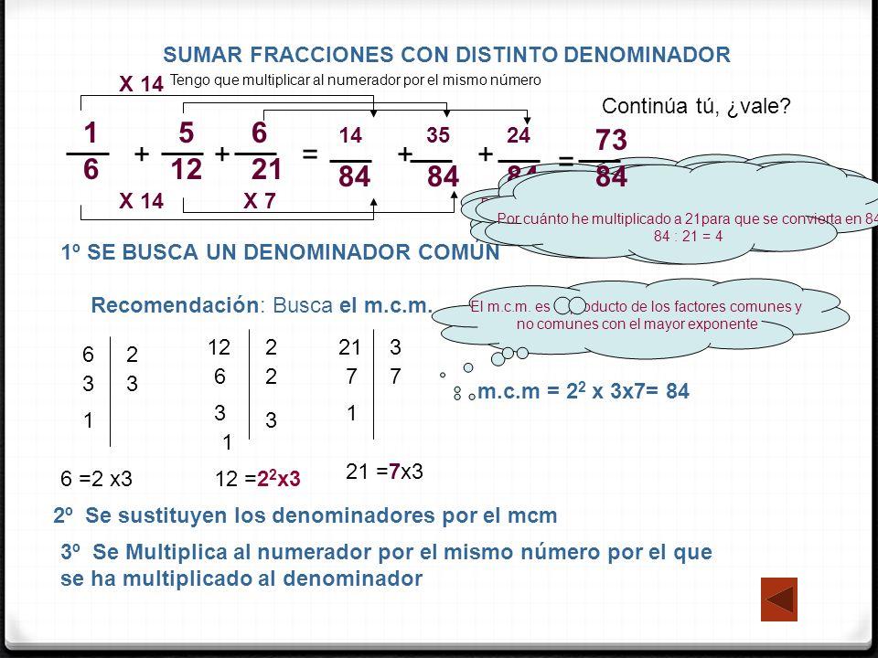 MULTIPLICACIÓN 1 – fracción x número natural / número natural x fracción Se multiplica el número por el numerador y se pone el mismo denominador 2 – Fracción x fracción 5 7 2 3 = 5 ·2 7 ·3 El resultado es una fracción cuyo numerador es el producto de los numeradores y cuyo denominador es el producto de los denominadores = 10 21 1 6 7 = 7 6 3 6 8 · ;= 24 6 · ·