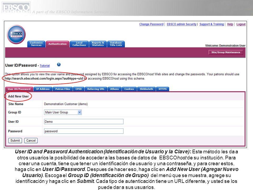 IP Address Authentication (Autenticación por Dirección de IP): Al escribir direcciones de IP, usted puede eliminar la necesidad de tener identificaciones y contraseñas.