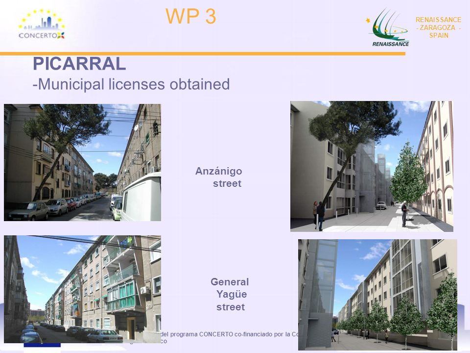 RENAISSANCE es un proyecto del programa CONCERTO co-financiado por la Comisión Europea dentro del Sexto Programa Marco RENAISSANCE - ZARAGOZA - SPAIN 5 PICARRAL -At the moment we are obtaining different construction budgets for the Neighbourhoods of : Picarral: Anzanigo 10-12 y Gnral Yagüe 2-4-6-8 -New contracts have been made for the new Office of Refurbishment in San Blas street number 37 WP 3