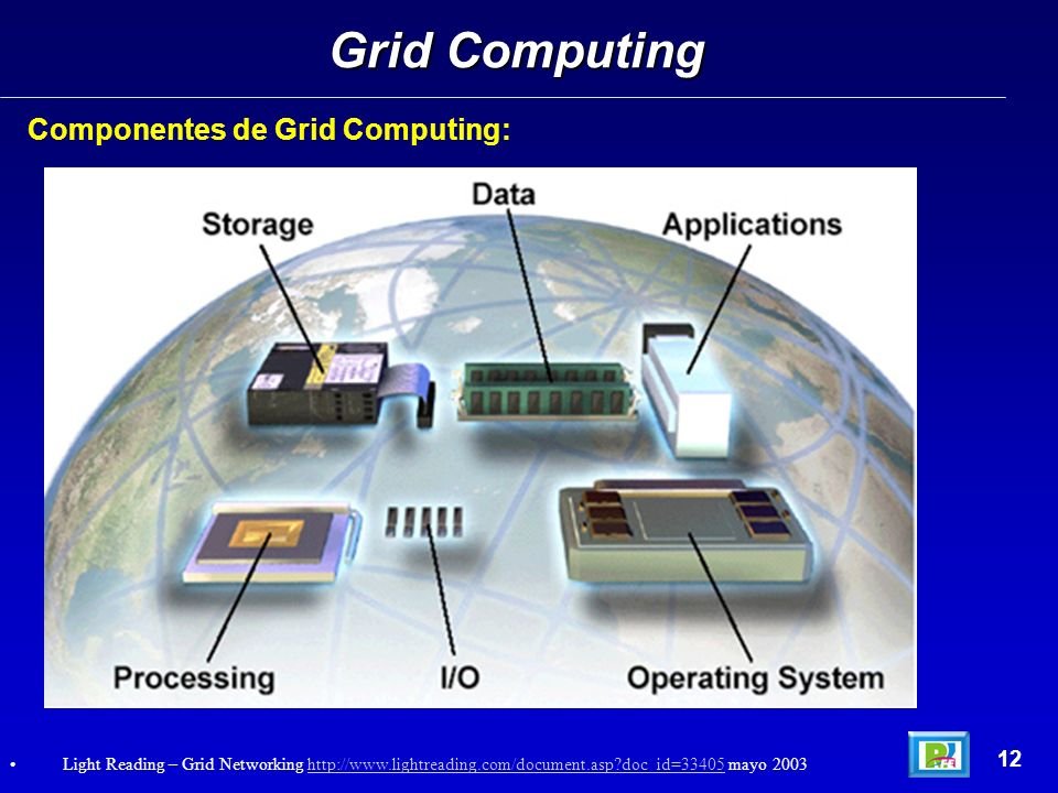 Concepto virtual de Grid Computing y su Distribución real en la red: Grid Computing 13 Light Reading – Grid Networking http://www.lightreading.com/document.asp?doc_id=33405 mayo 2003http://www.lightreading.com/document.asp?doc_id=33405