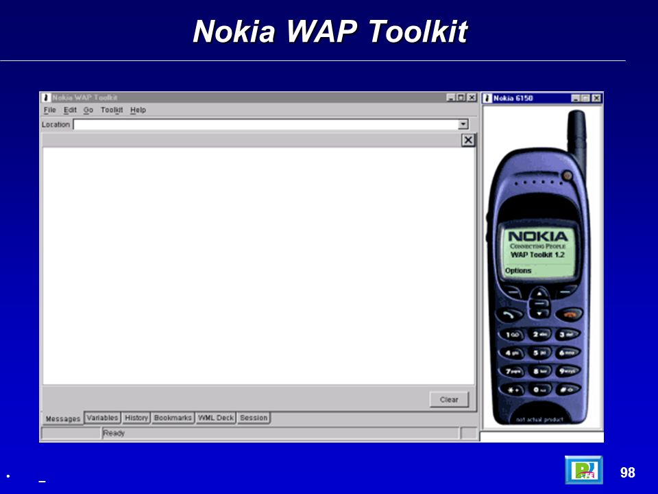 Nokia WAP Toolkit 99 _ Hola Mundo – 1/2 <wml> elements here.