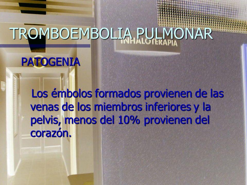 TROMBOEMBOLIA PULMONAR PATOGENIA Los émbolos formados provienen de las venas de los miembros inferiores y la pelvis, menos del 10% provienen del corazón.