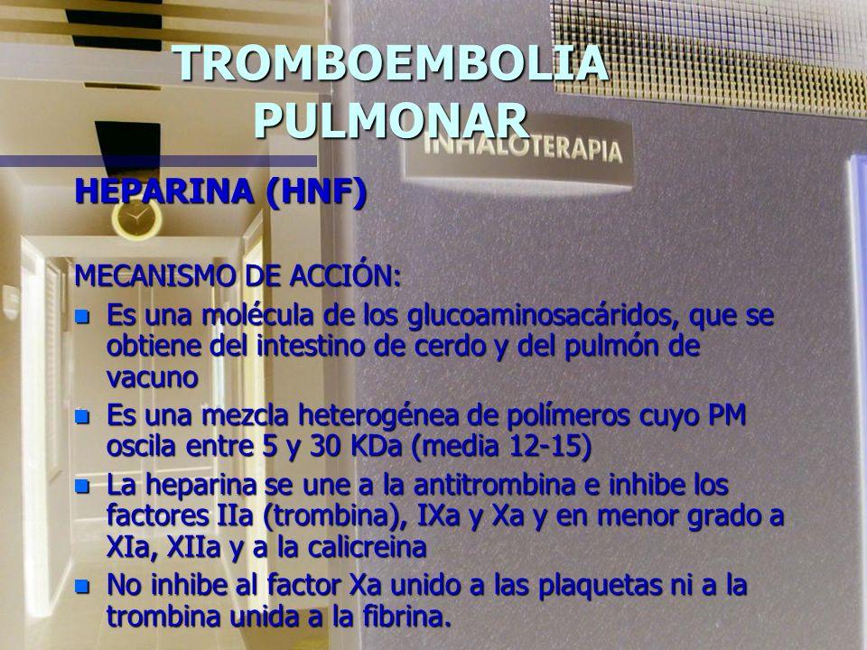 TROMBOEMBOLIA PULMONAR HEPARINA (HNF) MECANISMO DE ACCIÓN: n Es una molécula de los glucoaminosacáridos, que se obtiene del intestino de cerdo y del pulmón de vacuno n Es una mezcla heterogénea de polímeros cuyo PM oscila entre 5 y 30 KDa (media 12-15) n La heparina se une a la antitrombina e inhibe los factores IIa (trombina), IXa y Xa y en menor grado a XIa, XIIa y a la calicreina n No inhibe al factor Xa unido a las plaquetas ni a la trombina unida a la fibrina.