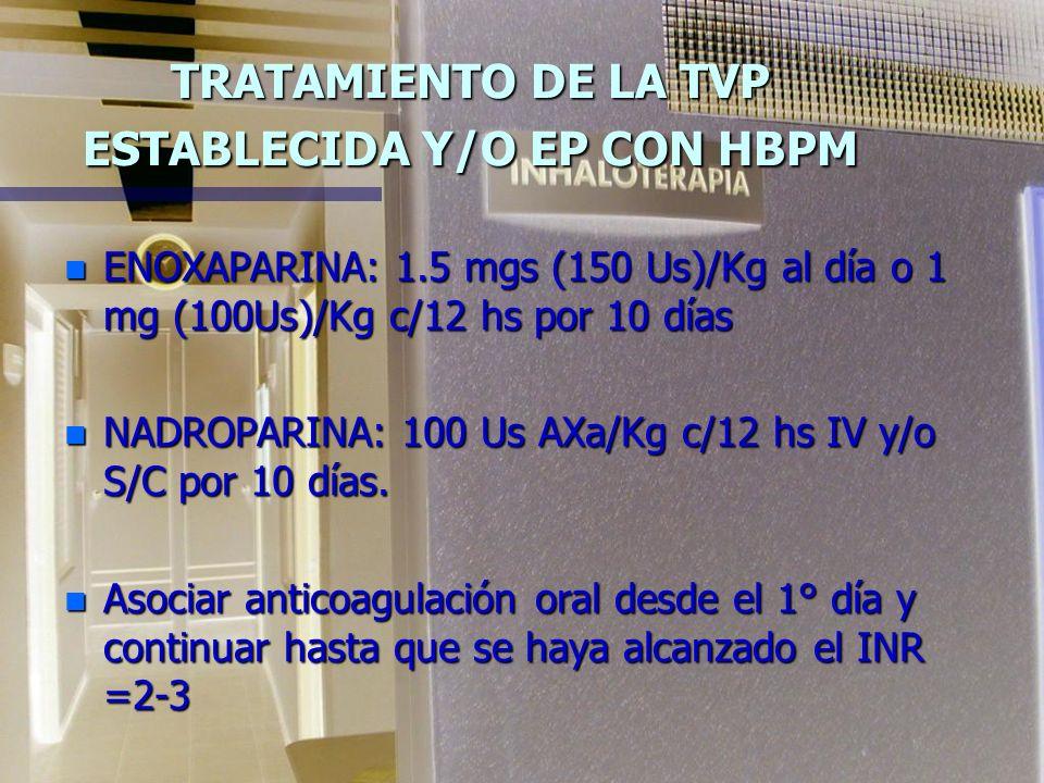TRATAMIENTO DE LA TVP ESTABLECIDA Y/O EP CON HBPM n ENOXAPARINA: 1.5 mgs (150 Us)/Kg al día o 1 mg (100Us)/Kg c/12 hs por 10 días n NADROPARINA: 100 Us AXa/Kg c/12 hs IV y/o S/C por 10 días.