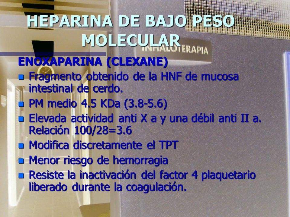 HEPARINA DE BAJO PESO MOLECULAR ENOXAPARINA (CLEXANE) n Fragmento obtenido de la HNF de mucosa intestinal de cerdo.