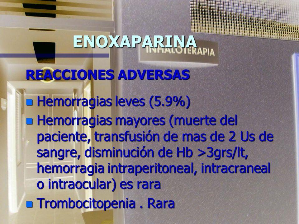 ENOXAPARINA REACCIONES ADVERSAS n Hemorragias leves (5.9%) n Hemorragias mayores (muerte del paciente, transfusión de mas de 2 Us de sangre, disminución de Hb >3grs/lt, hemorragia intraperitoneal, intracraneal o intraocular) es rara n Trombocitopenia.