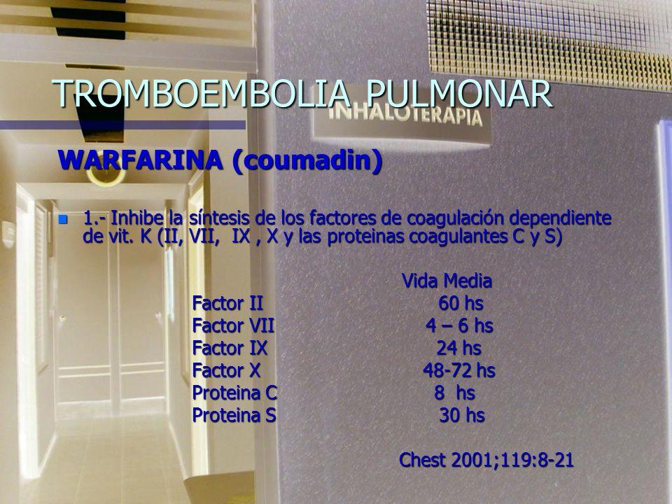 TROMBOEMBOLIA PULMONAR WARFARINA (coumadin) n 1.- Inhibe la síntesis de los factores de coagulación dependiente de vit.