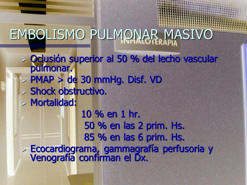 EMBOLISMO PULMONAR MASIVO Oclusión superior al 50 % del lecho vascular pulmonar.