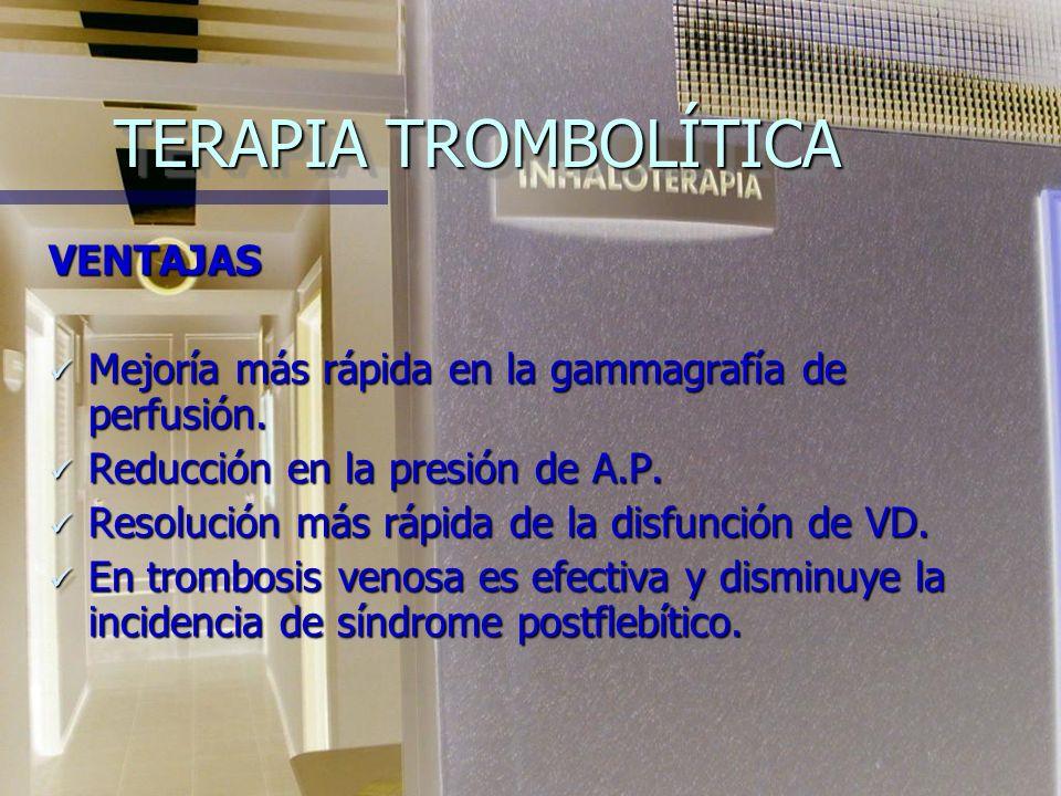TERAPIA TROMBOLÍTICA VENTAJAS Mejoría más rápida en la gammagrafía de perfusión.