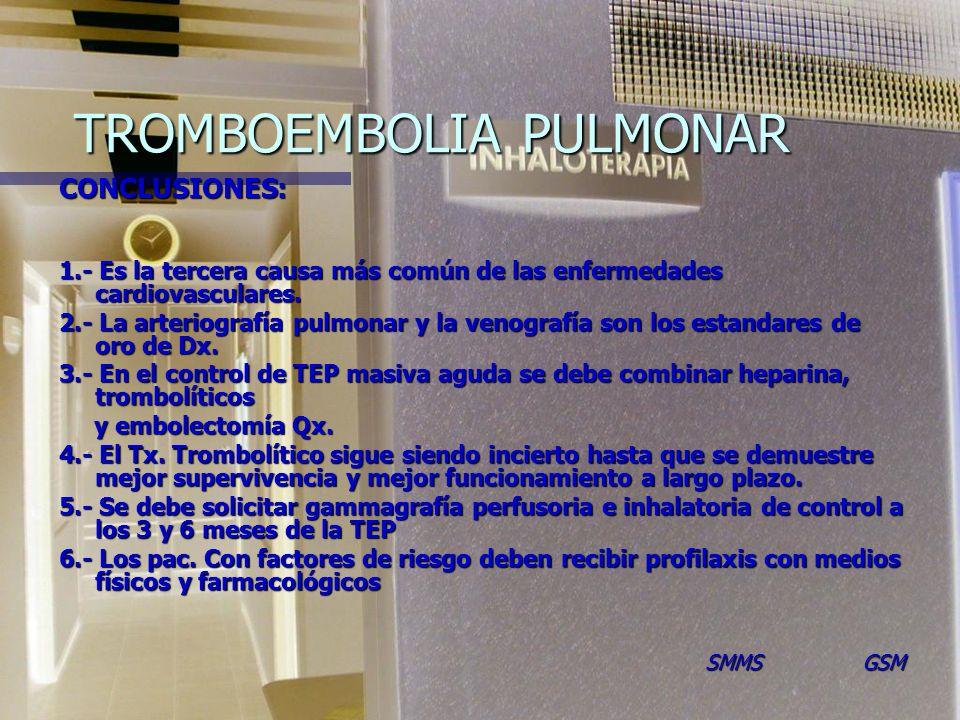 TROMBOEMBOLIA PULMONAR CONCLUSIONES: 1.- Es la tercera causa más común de las enfermedades cardiovasculares.