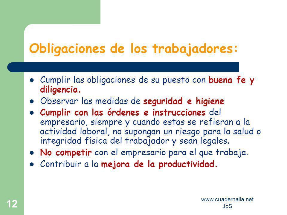 www.cuadernalia.net JcS 12 Obligaciones de los trabajadores: Cumplir las obligaciones de su puesto con buena fe y diligencia.