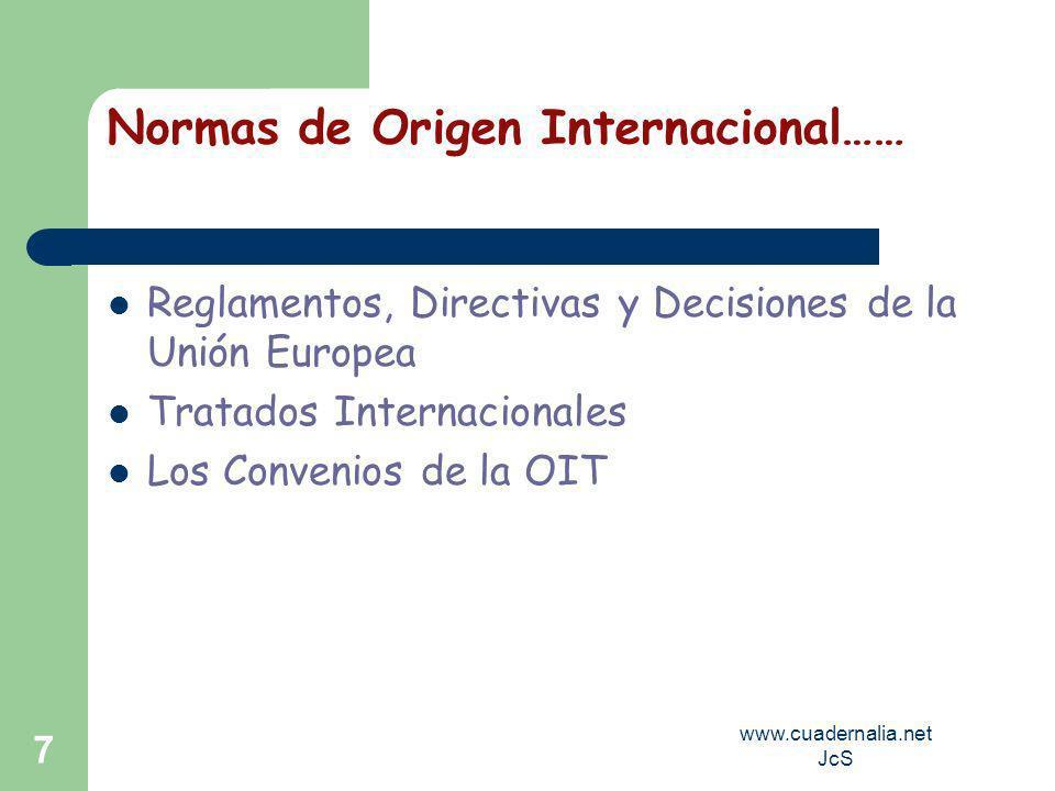 www.cuadernalia.net JcS 7 Normas de Origen Internacional…… Reglamentos, Directivas y Decisiones de la Unión Europea Tratados Internacionales Los Convenios de la OIT