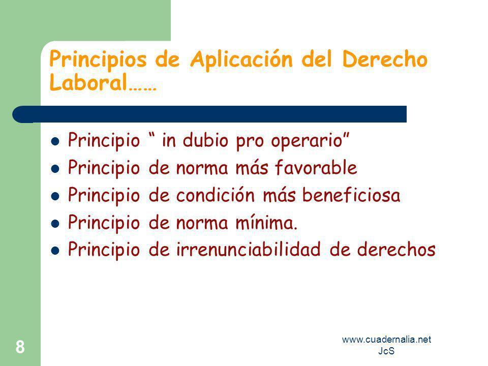 www.cuadernalia.net JcS 8 Principios de Aplicación del Derecho Laboral…… Principio in dubio pro operario Principio de norma más favorable Principio de condición más beneficiosa Principio de norma mínima.