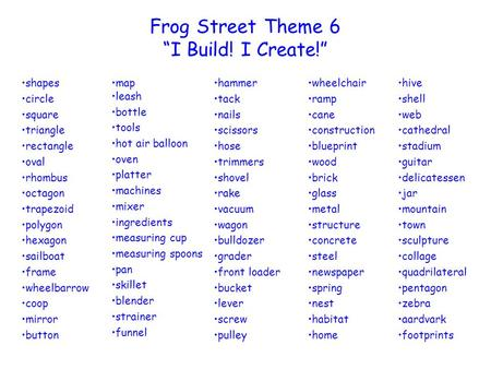 "Frog Street Theme 6 ""I Build! I Create!"" shapes circle square triangle"
