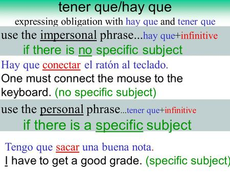 Tener que/hay que expressing obligation with hay que and tener que use the impersonal phrase... hay que+infinitive if there is no specific subject use.