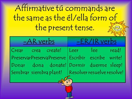 Affirmative tú commands are the same as the él/ella form of the present tense. -AR verbs-ER/IR verbs Crear crea create! PreservarPreservaPreserve Donar.