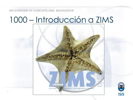 1 www.isis.org 1000 – Introducción a ZIMS AN OVERVIEW OF CONCEPTS AND NAVIGATION.