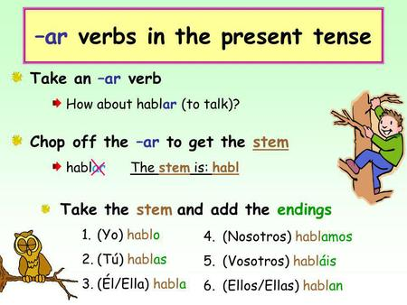 –ar verbs in the present tense Take an –ar verb How about hablar (to talk)? Chop off the –ar to get the stem hablar The stem is: habl Take the stem and.