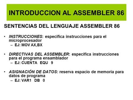 INTRODUCCION AL ASSEMBLER 86