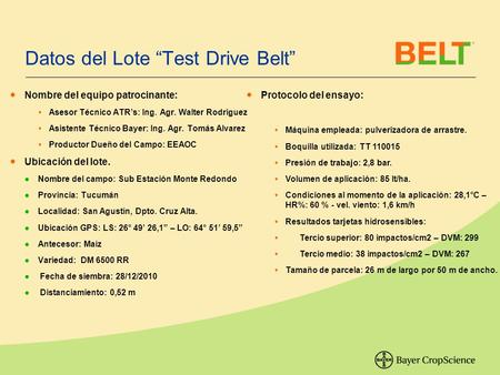 "Datos del Lote ""Test Drive Belt"" ● Nombre del equipo patrocinante:  Asesor Técnico ATR's: Ing. Agr. Walter Rodriguez  Asistente Técnico Bayer: Ing. Agr."