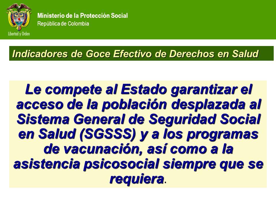 Ministerio de la Protección Social República de Colombia CriterioIndicadores Unidad de medida Acceso al SGSSS Todas las personas del hogar cuentan con afiliación al SGSSS Binario (si / no) Acceso a asistencia psicosocial Todas las personas que solicitaron apoyo psicosocial lo recibieron Binario (si / no) Acceso al esquema de vacunación Todos los niños del hogar cuentan con esquema de vacunación completo Binario (si / no) Universo de atención: 1.976.970 personas Indicadores de Goce Efectivo de Derechos