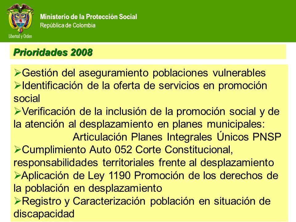 Ministerio de la Protección Social República de Colombia Prioridades 2008 Registro detallado de atenciones a población vulnerables, en especial para poblaciones en desplazamiento Reporte Corte Cumplimiento de indicadores Identificación de la oferta de servicios en promoción social