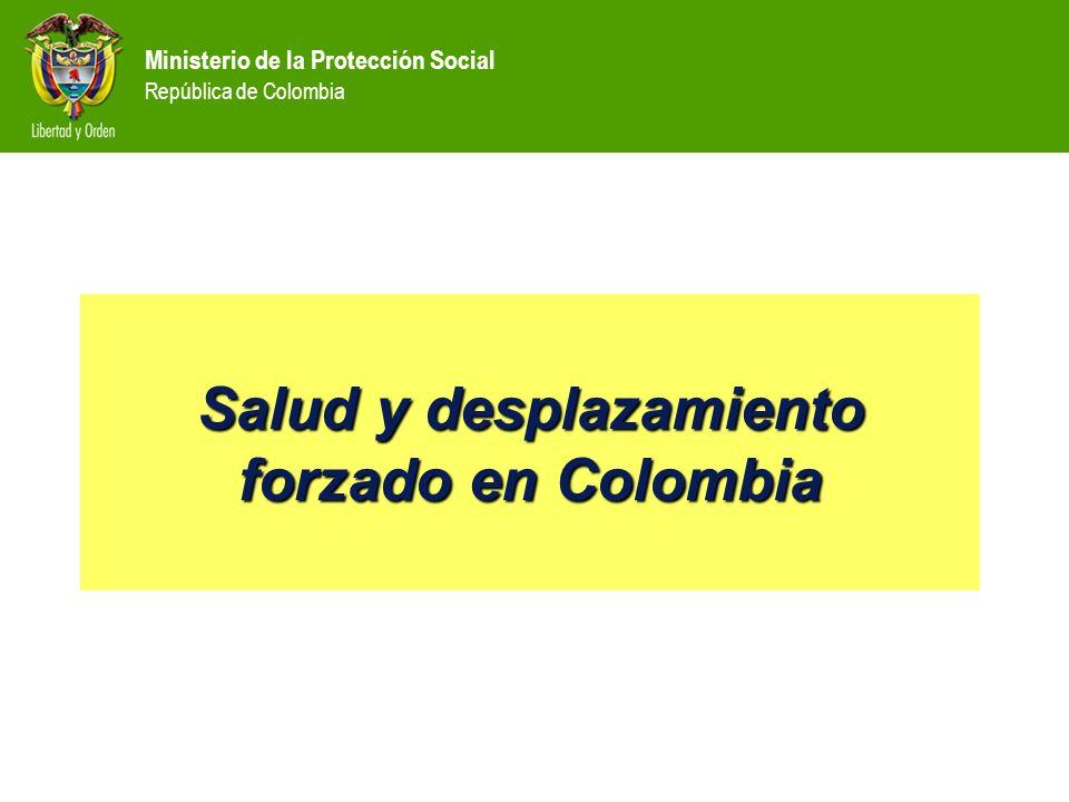 Ministerio de la Protección Social República de Colombia CONTENIDO Situación de calidad de vida y salud de la Población Desplazada ò Aseguramiento y accesibilidad en salud ò Respuesta institucional ò Respuestas específicas del MPS y la DGPS
