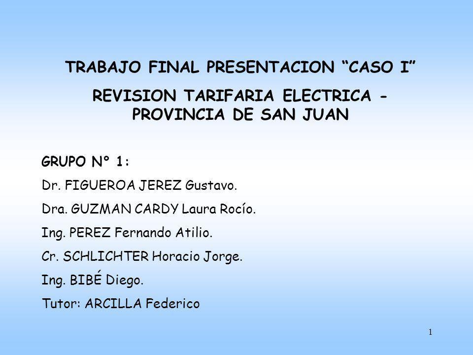2 CONTENIDOS I)MARCO JURIDICO II)PROCESO - AUDIENCIAS PUBLICAS III)VARIABLES QUE INTERVIENEN EN LA TARIFA – RESULTADOS DEL CASO SAN JUAN IV)CONCLUSION DE LA METODOLOGIA ANALIZADA Y PROPUESTA DE MEJORA V)RESUMEN METODOLOGIA REP.