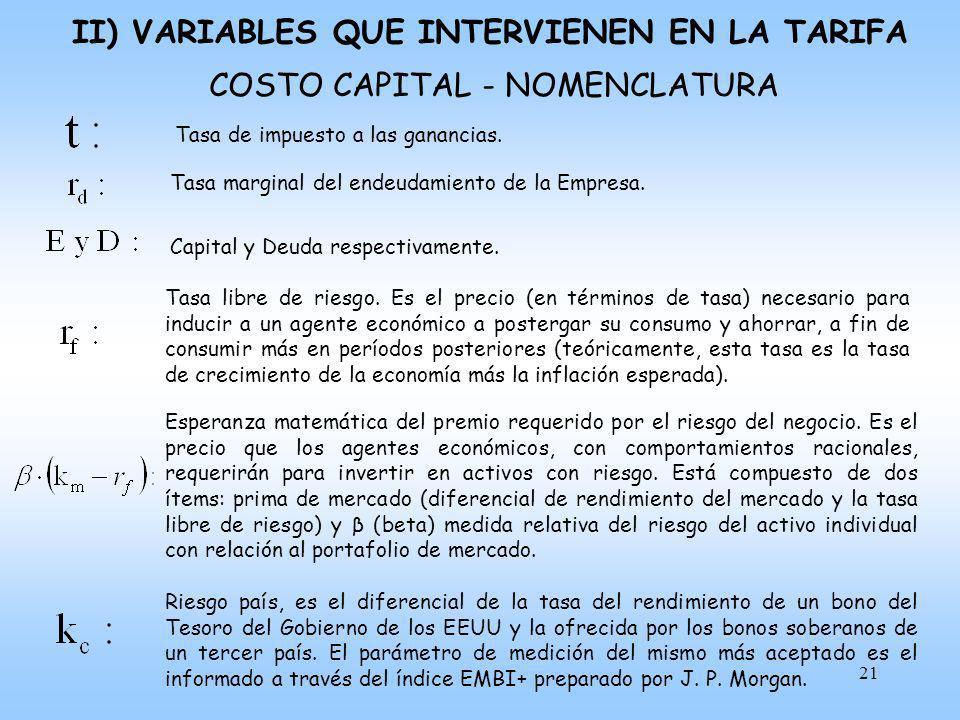 22 CASH – FLOW III) VARIABLES QUE INTERVIENEN EN LA TARIFA BC dinámica