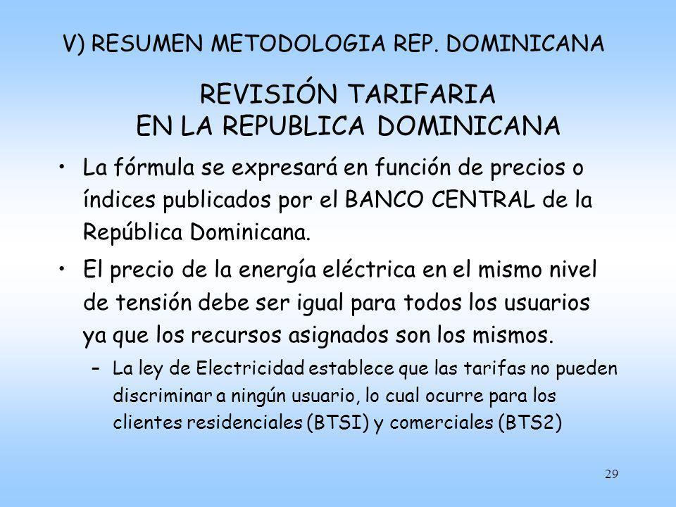 30 REVISIÓN TARIFARIA EN LA REPUBLICA DOMINICANA El VAD será determinado por la Superintendencia cada 4 años.