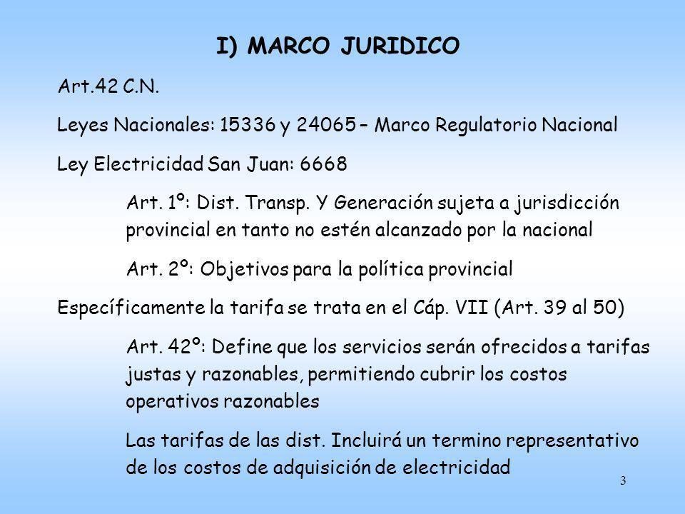 4 I) MARCO JURIDICO Específicamente la tarifa se trata en el Cáp.