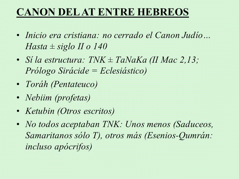 Inicio era cristiana: no cerrado el Canon Judío… Hasta ± siglo II o 140 Sí la estructura: TNK ± TaNaKa (II Mac 2,13; Prólogo Sirácide = Eclesiástico) Toráh (Pentateuco) Nebiim (profetas) Ketubin (Otros escritos) No todos aceptaban TNK: Unos menos (Saduceos, Samaritanos sólo T), otros más (Esenios-Qumrán: incluso apócrifos) CANON DEL AT ENTRE HEBREOS